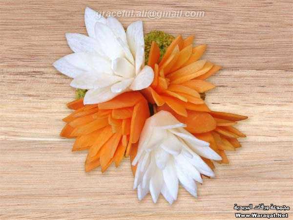 عكس   گلسازي با هويج, ساخت گل با هويج