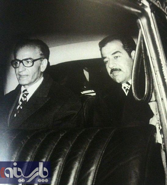 صدام و محمدرضا پهلوی قبل از امضای قرارداد 1975 الجزایر