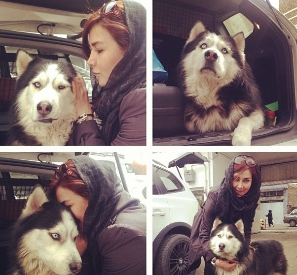 عکس/هنرپیشه زن ایرانی و سگش!