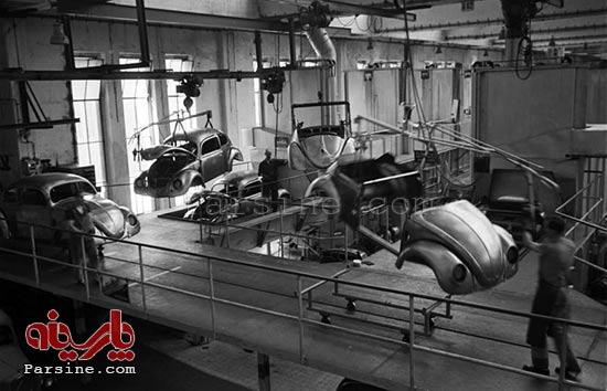 خط تولید فولکس قورباغه ای در 50 سال پیش+عکس