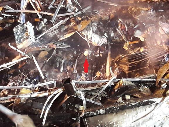 عکس/ پیدا کردن یک کلاه آتشنشانی در میان آوار