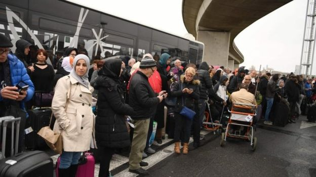 Travellers were evacuated from the airport-AFP
