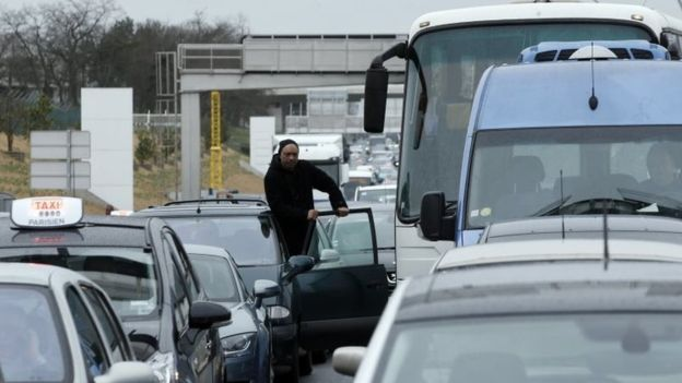 There were huge traffic jams outside the airport soon after the shooting incident -AP