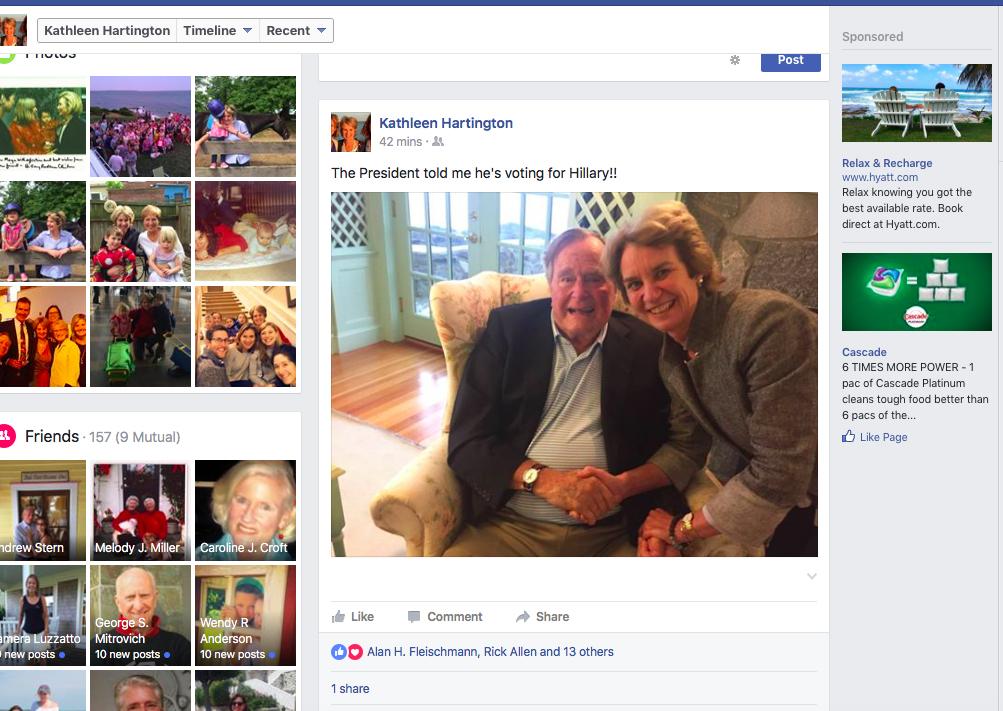 جرج بوش هم به هیلاری کلینتون رای میدهد