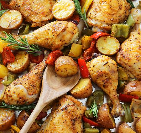 مرغ و سیب زمینی تنوری