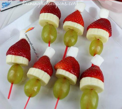 تزیین میوه به شکل بابانوئل برای کریسمس