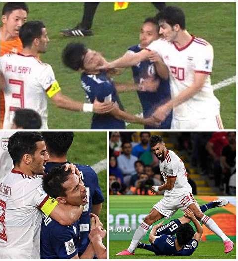تصویر پر معنا از خلاصه تیم ملی ایران در مقابل ژاپن