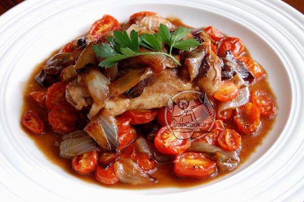 طرز تهیه مرغ بالزامیک با گوجه برشته