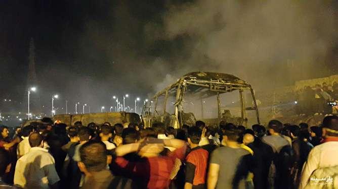 برخورد تانکر سوخت با اتوبوس در سنندج چندین کشته بر جای گذاشت