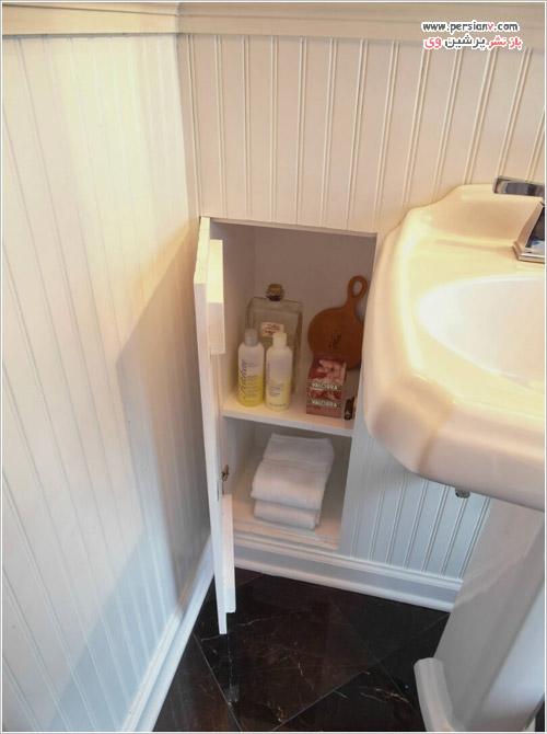 حمام و سرویس بهداشتی کوچک و کاربرد کابینت و شلف های پنهان