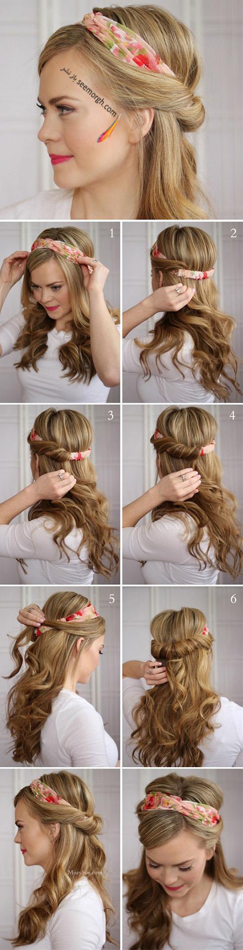 ۱۲ شیوه جدید و زیبا بستن دستمال سر دخترانه
