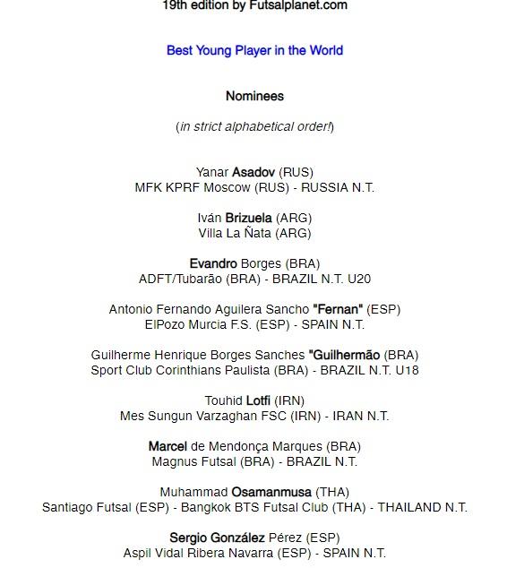 فوتسالیست ایرانی نامزد برترین بازیکن جوان جهان شد