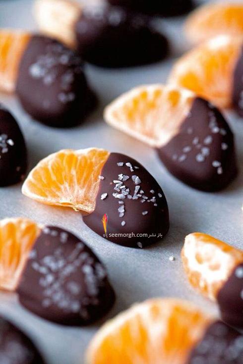تزیین میوه با شکلات، یک میوه آرایی خوشمزه برای شب یلدا
