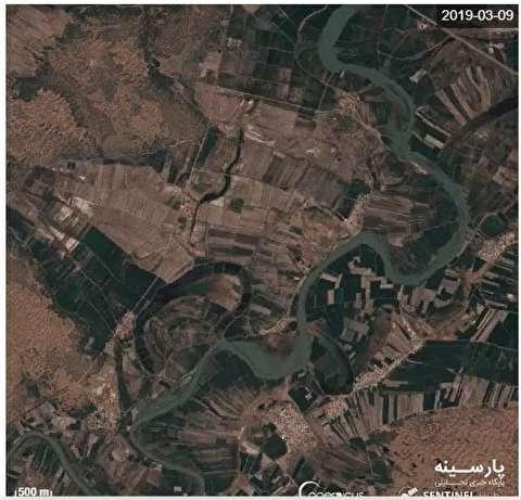 تصویر ماهواره ای از چند برابر شدن عرض کارون در سیل اخیر