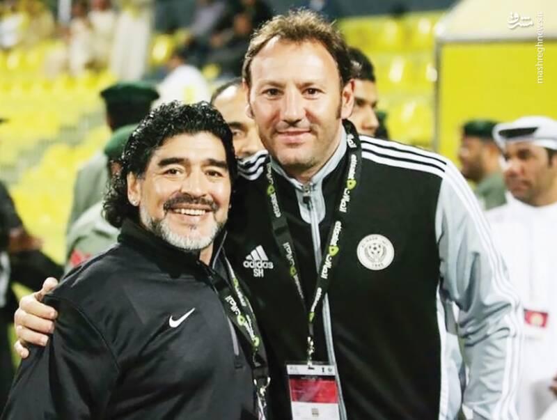 مربی جدید شهرخودرو در کنار مارادونا +عکس