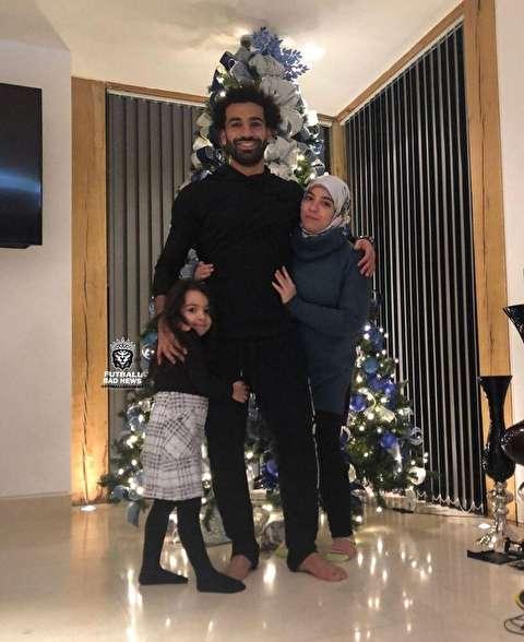 خانواده محمد صلاح در جشن کریسمس+عکس