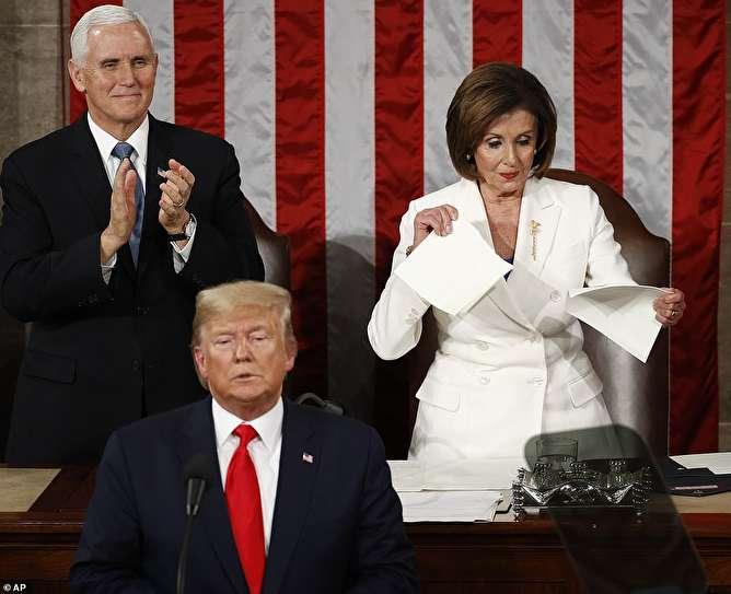 حمله گستاخانه ترامپ به ایران و هتاکی مجدد به شهید قاسم سلیمانی / پلوسی متن سخنرانی ترامپ را پاره کرد