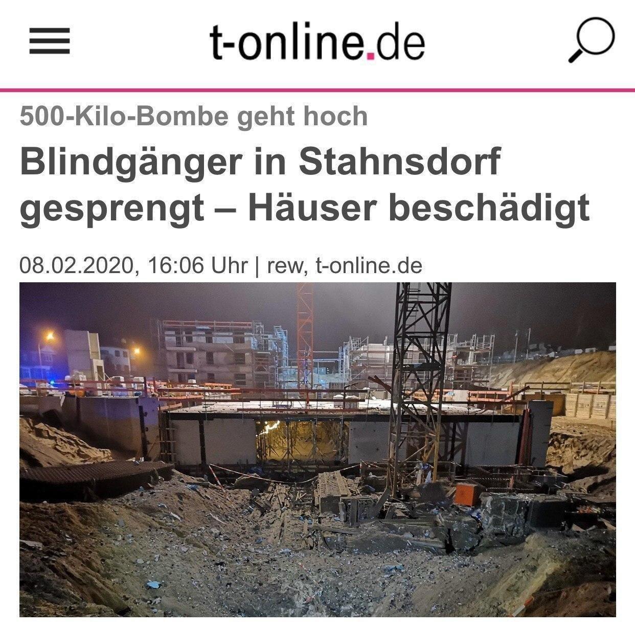 بمب ٥٠٠ کیلویی در آلمان منفجر شد