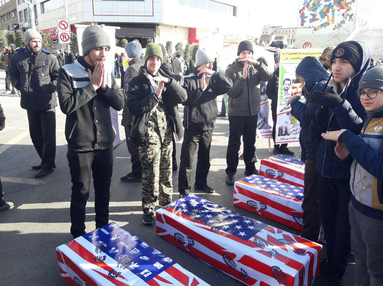 حضور پرشور مردم ایران اسلامی در راهپیمایی یومالله ۲۲ بهمن/تشییع جنازه تروریستهای آمریکایی