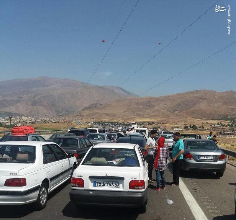 ترافیک سنگین اتوبان قزوین - رشت +عکس