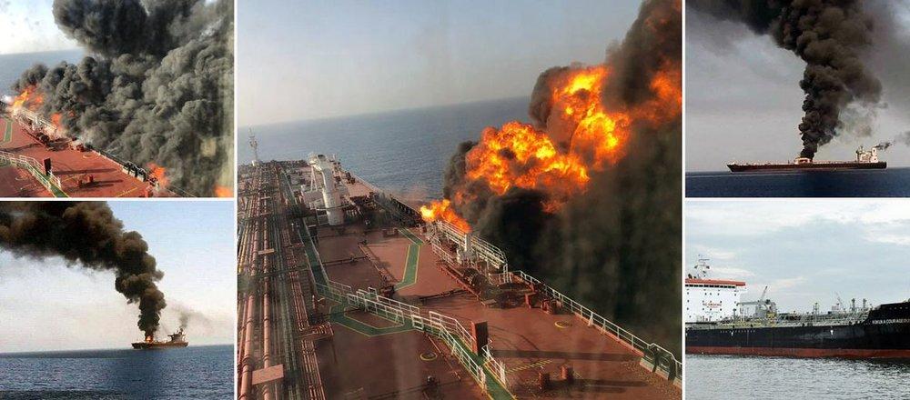تصاویر اختصاصی رسانه انگلیسی از آتشسوزی در دریای عمان