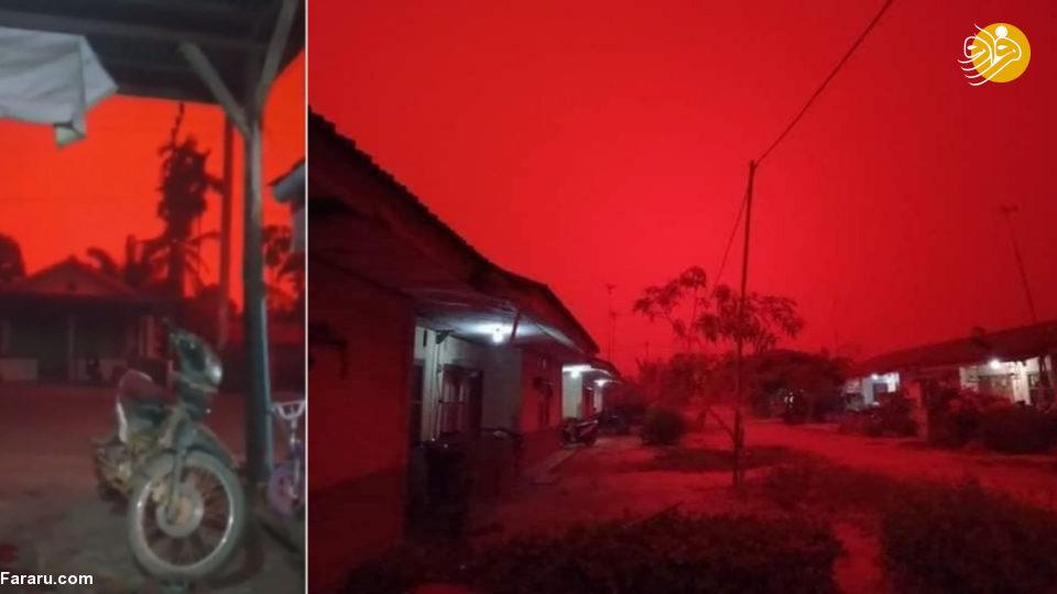 آسمان اندونزی خونین شد