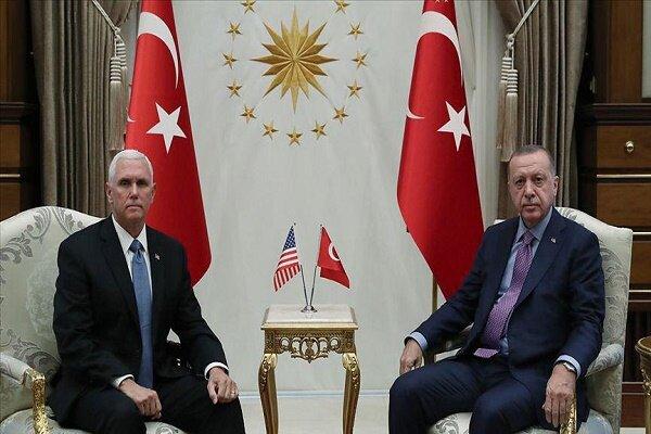 دیدار معاون ترامپ و اردوغان / هر دو اخمو +عکس
