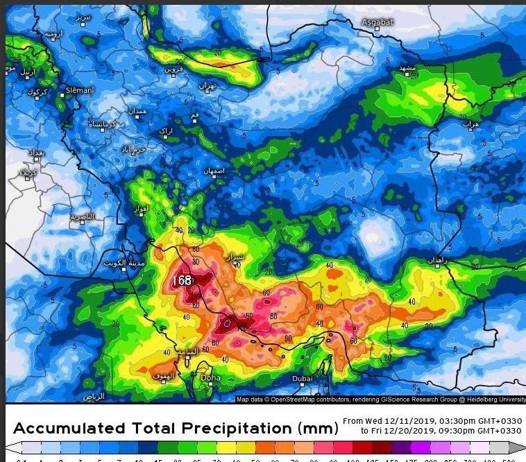 اخبار هواشناسی کشور ۹۸/۰۹/۲۱  بارندگی شدید و احتمالا جاری شدن سیل در جنوب کشور