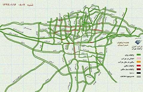 تصویر گوگل از ترافیک سنگین تهران و فاجعه ای در راه