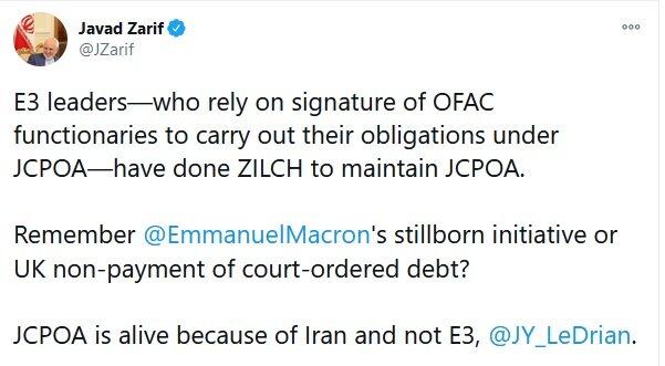 پاسخ ظریف به وزیرخارجه فرانسه: برجام را ایران زنده نگه داشته است نه تروئیکای اروپایی