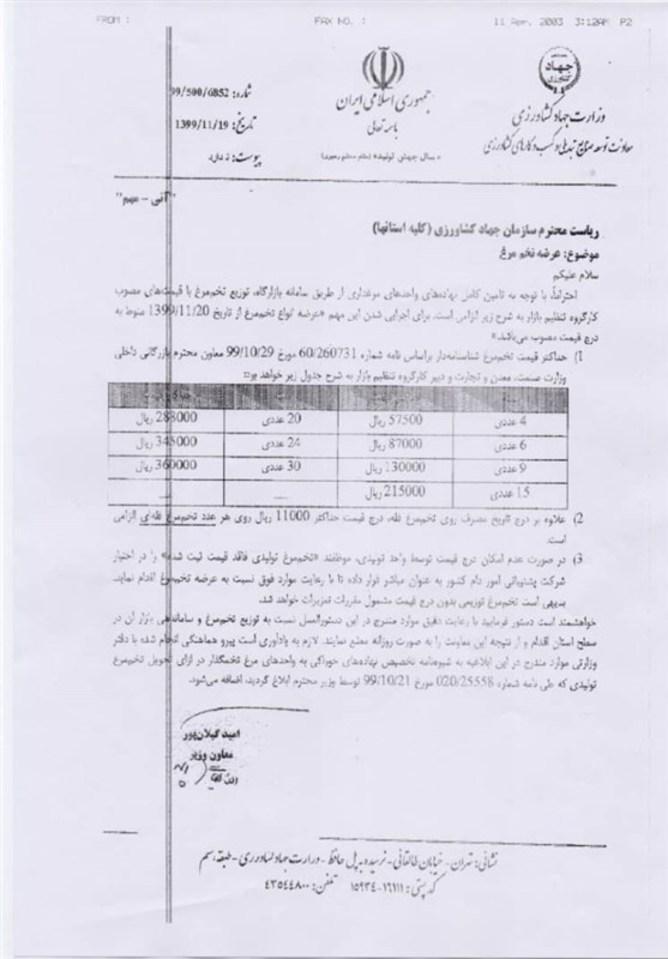 قیمت تخم مرغ شناسنامه دار در بستههای مختلف اعلام شد + سند