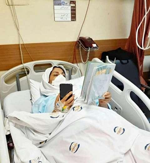 فداکاریِ کمنظیر خانم معلم روی تخت بیمارستان