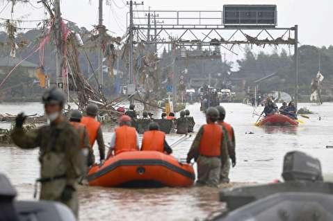 عواقب بارش شدید باران در ژاپن به روایت تصویر