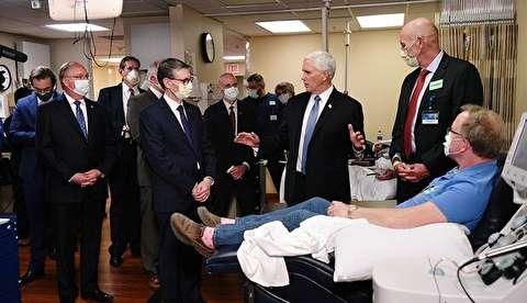 ماسک نزدن معاون ترامپ در بیمارستان بیماران کرونایی