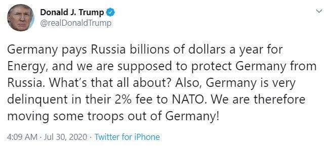 ترامپ: نیروهایمان را از آلمان به خاطر اینکه به روسیه پول میدهد خارج میکنیم