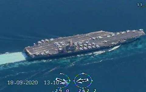 رصد ناو هواپیمابر نیمیتز آمریکا توسط پهپادهای سپاه + فیلم