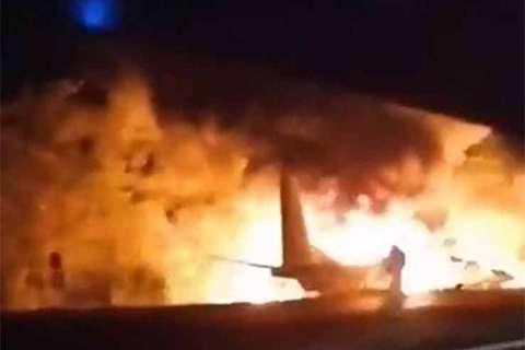 سقوط مرگبار هواپیمای آنتونوف-۲۶ در شمال شرق اوکراین + فیلم
