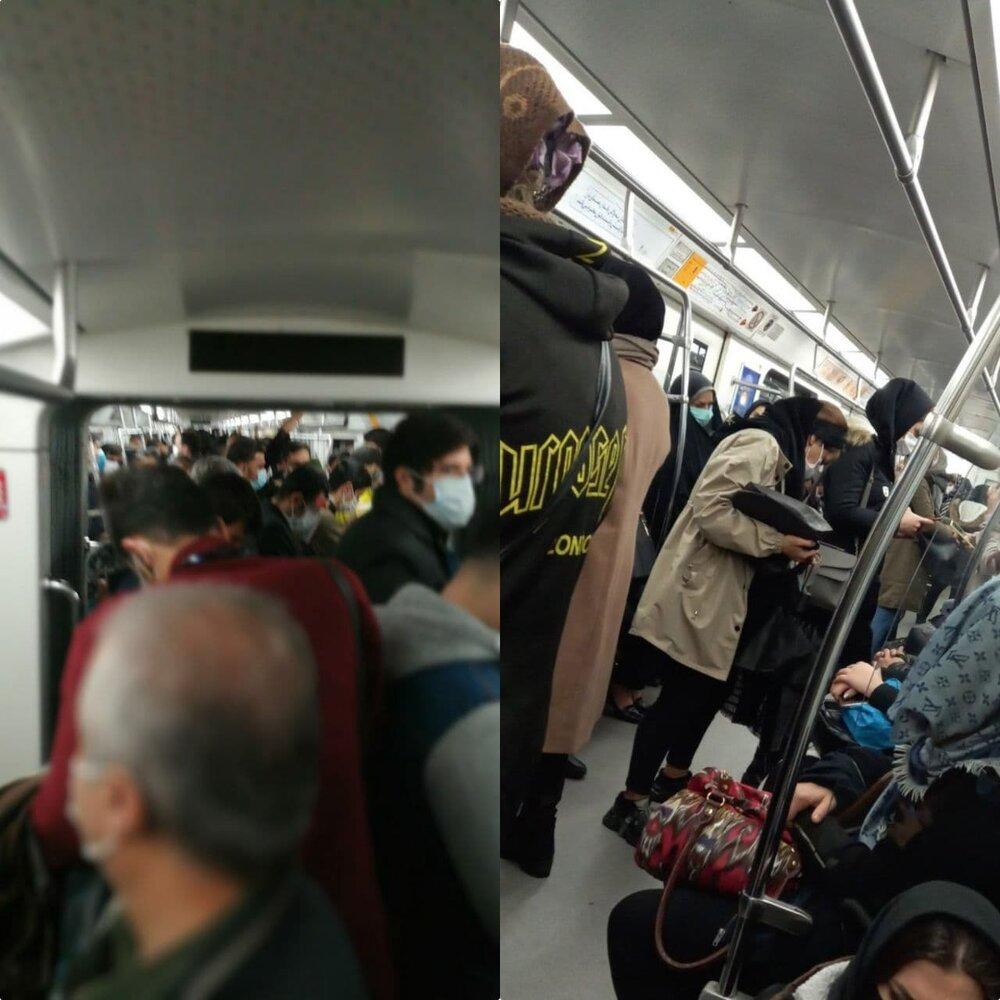 وضعیت مترو تهران در اولین روز محدودیت های شدید کرونایی! + عکس