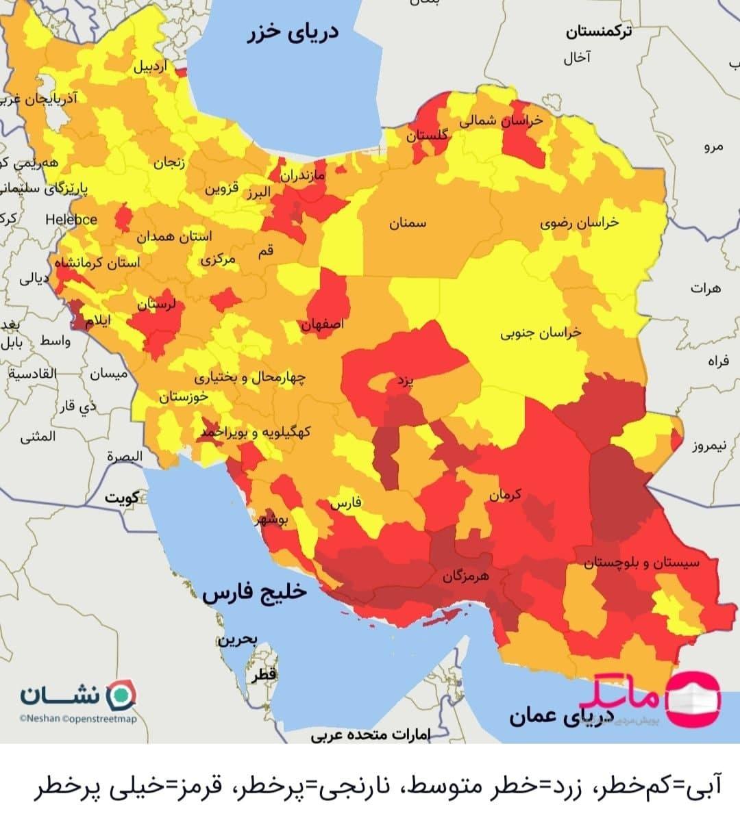 تهران و ۹۱ شهرستان دیگر در وضعیت قرمز کرونا + نقشه جدید رنگبندی کرونا