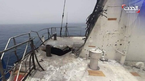 تصاویر کشتی اسرائیلی مرسر پس از حمله