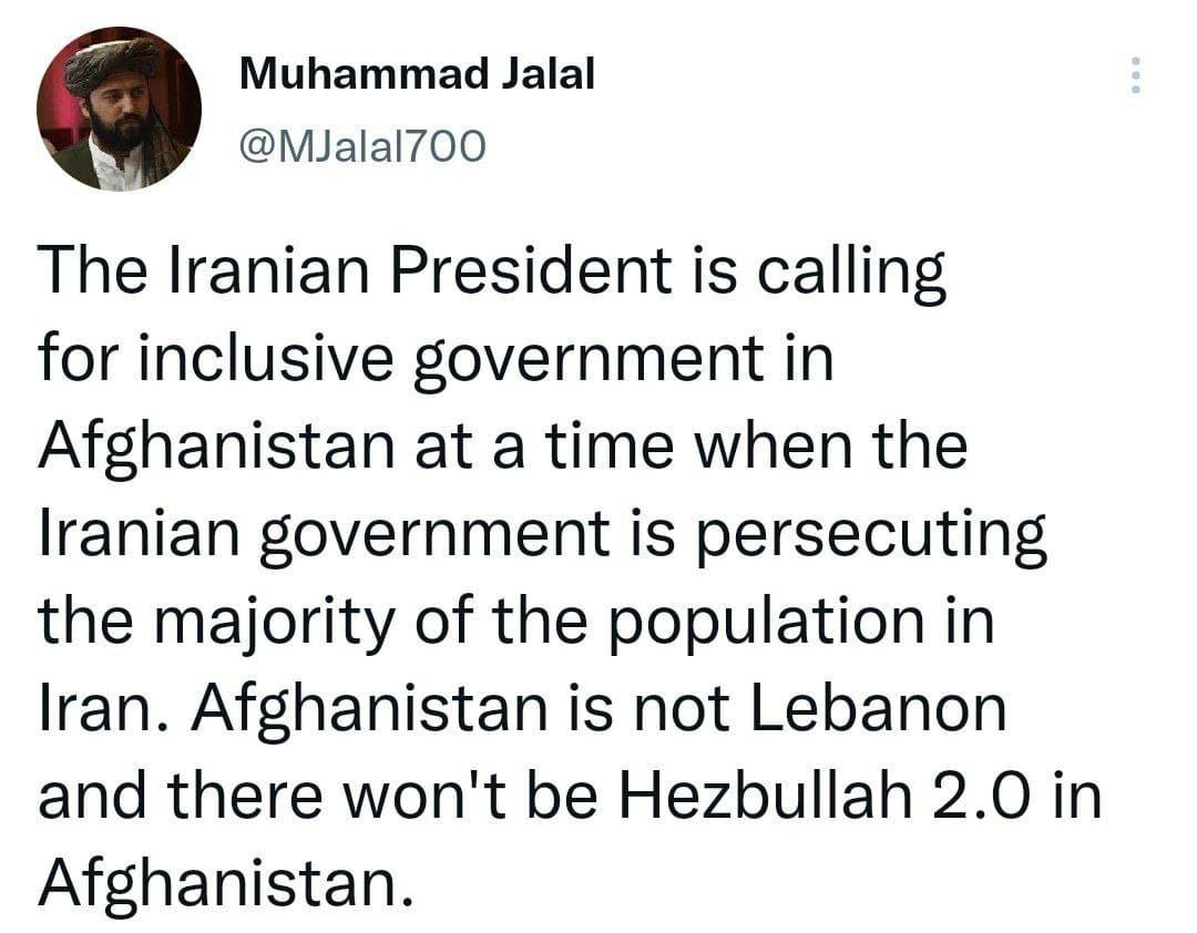 توئیت تحقیر آمیز سرکردهی طالبان در مورد دولت ایران+عکس