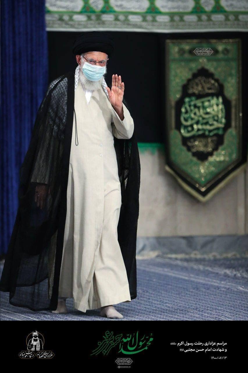 مراسم عزاداری رحلت پیامبر اعظم و شهادت امام حسن مجتبی با حضور رهبری برگزار شد